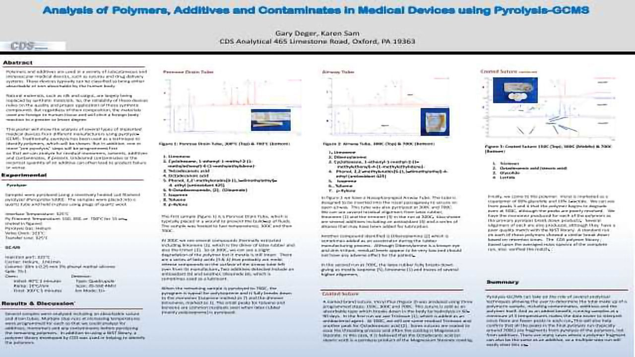 Analysis of Polymers, Additives and Contaminates in Medical Devices using Pyrolysis-GCMS