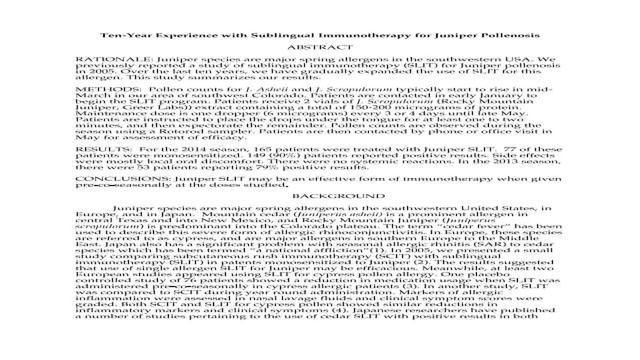Ten-Year Experience with Sublingual Immunotherapy for Juniper Pollenosis