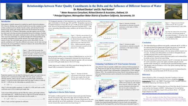 Relationships between Water Quality Constituents in the Delta and the Influence of Different Sources of Water