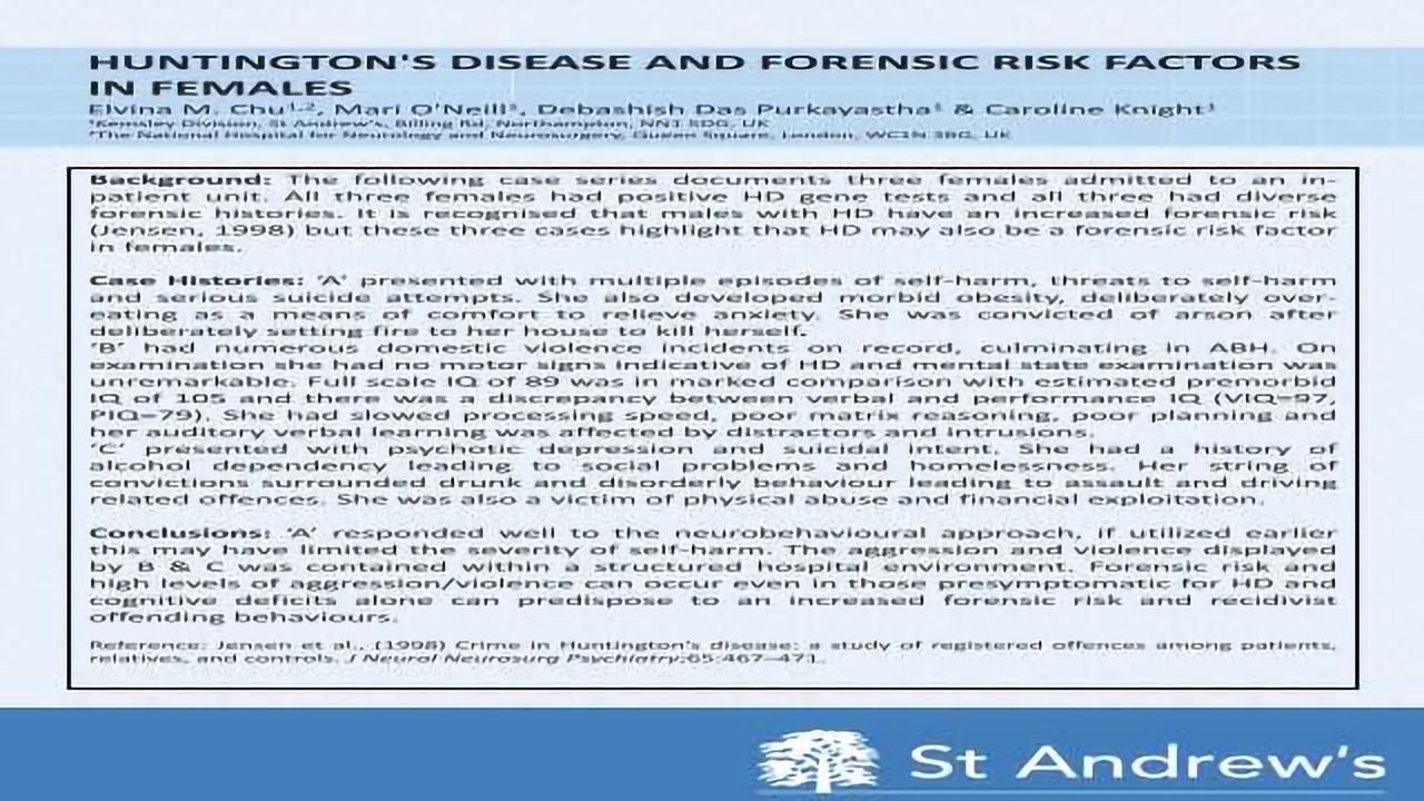 Huntington's Disease And Forensic Risk Factors In Females