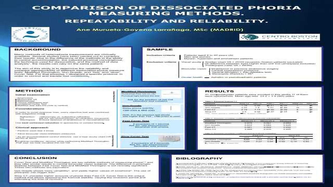 Comparison of Dissociated Phoria Measuring Methods. Repeatability and Reliability