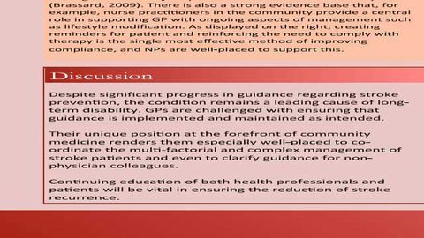Secondary Prevention of Stroke: The role of the General Practitioner