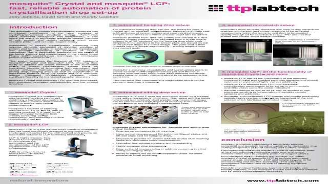 mosquito®  Crystal and mosquito® LCP: fast, reliable automation of protein crystallisation drop set-up