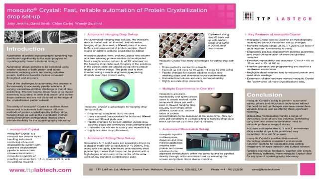 mosquito® Crystal: Fast, reliable automation of Protein Crystallization drop set-up
