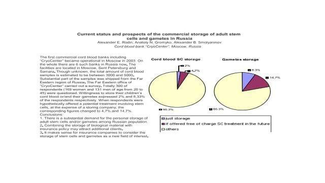 Current status and prospects of the commercial storage of adult stem