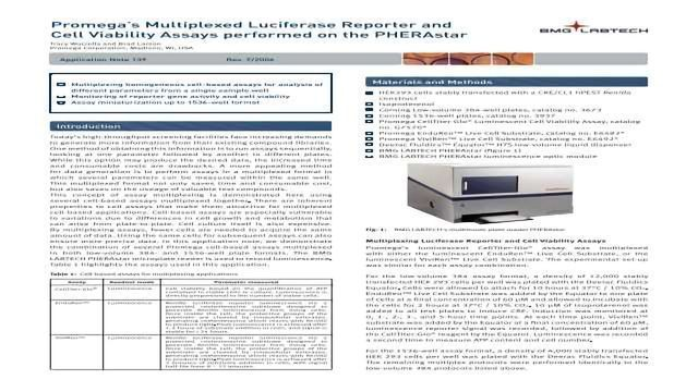 Promega's Multiplexed Luciferase Reporter and Cell Viability Assays performed on the PHERAstar