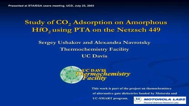 Study of CO2 Adsorption on Amorphous HfO2 using PTA on the Netzsch 449