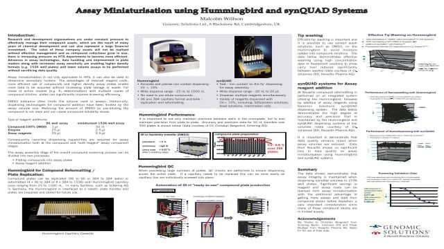 Assay Miniaturisation using Hummingbird and synQUAD Systems