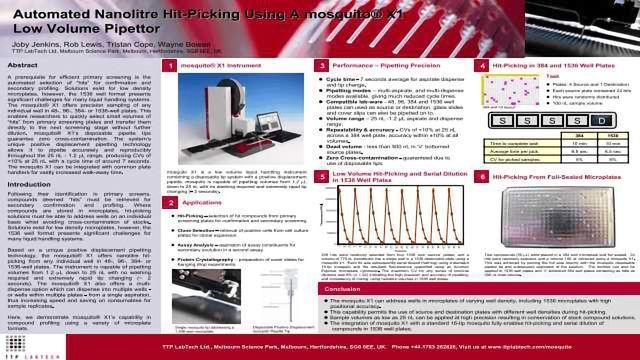 Automated Nanolitre Hit Automated Nanolitre Hit - Picking using a Mosquito® X1 Low Volume Pipettor