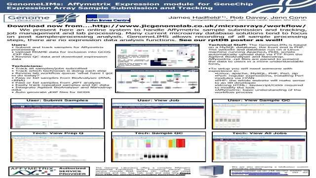GenomeLIMs: Affymetrix Expression module for GeneChip Expression Array Sample Submission and Tracking