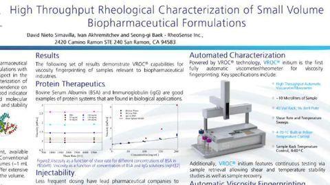 High Throughput Rheological Characterization of Small Volume Biopharmaceutical Formulations