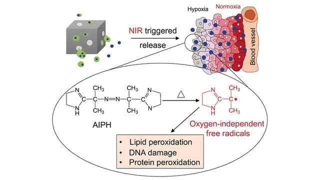 Free-Radical-Generating Hybrid Nanomaterial for the Oxidative Destruction of Tumors