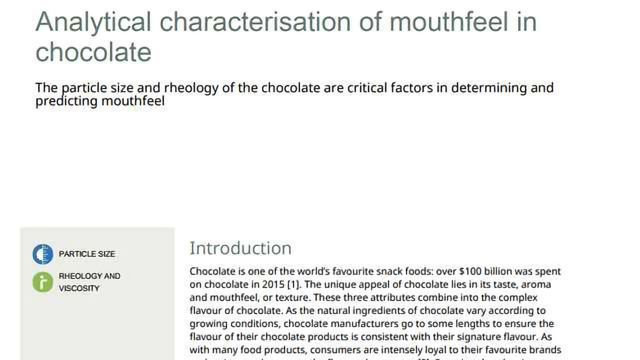 Analytical Characterisation of Mouthfeel in Chocolate