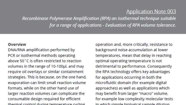 Evaluation of Recombinase Polymerase Amplification (RPA) Volume Tolerance