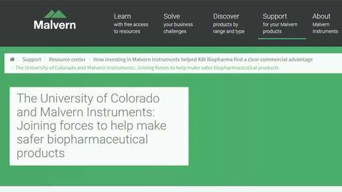 The University of Colorado and Malvern Instruments: Joining Forces to Help Make Safer Biopharmaceutical Products