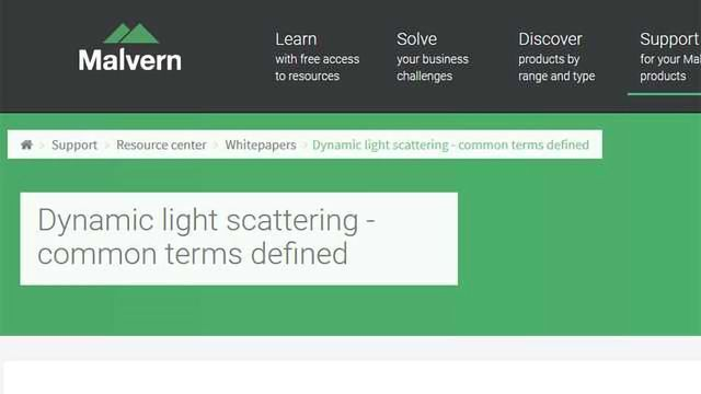 Dynamic Light Scattering - Common Terms Defined