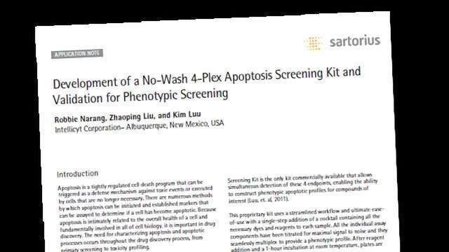 A No-Wash 4-Plex Apoptosis Screening Kit and Validation for Phenotypic Screening