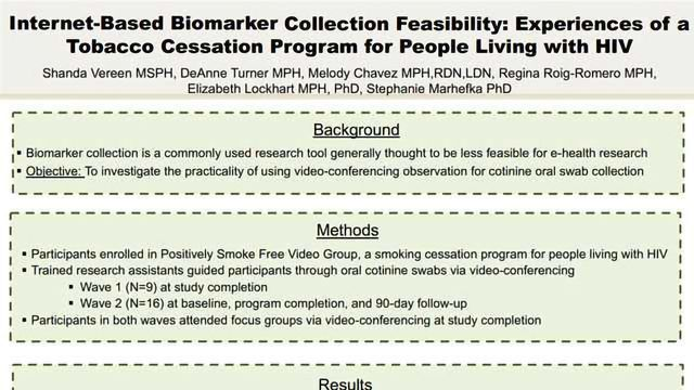 Internet-Based Biomarker Collection Feasibility: Experiences of a Tobacco Cessation Program for People Living with HIV