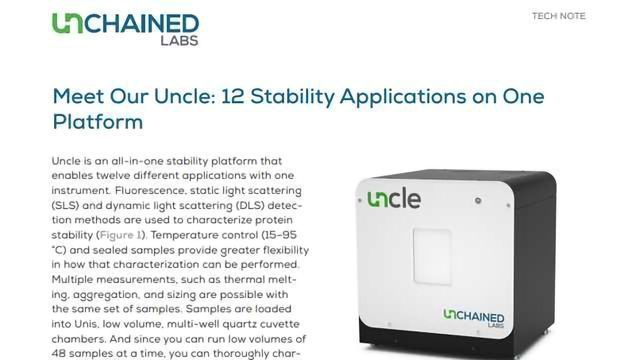Uncle - The First All-in-One Biologics Stability Platform