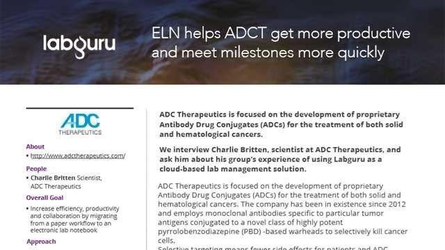 ADC Therapeutics Drives Productivity with Labguru