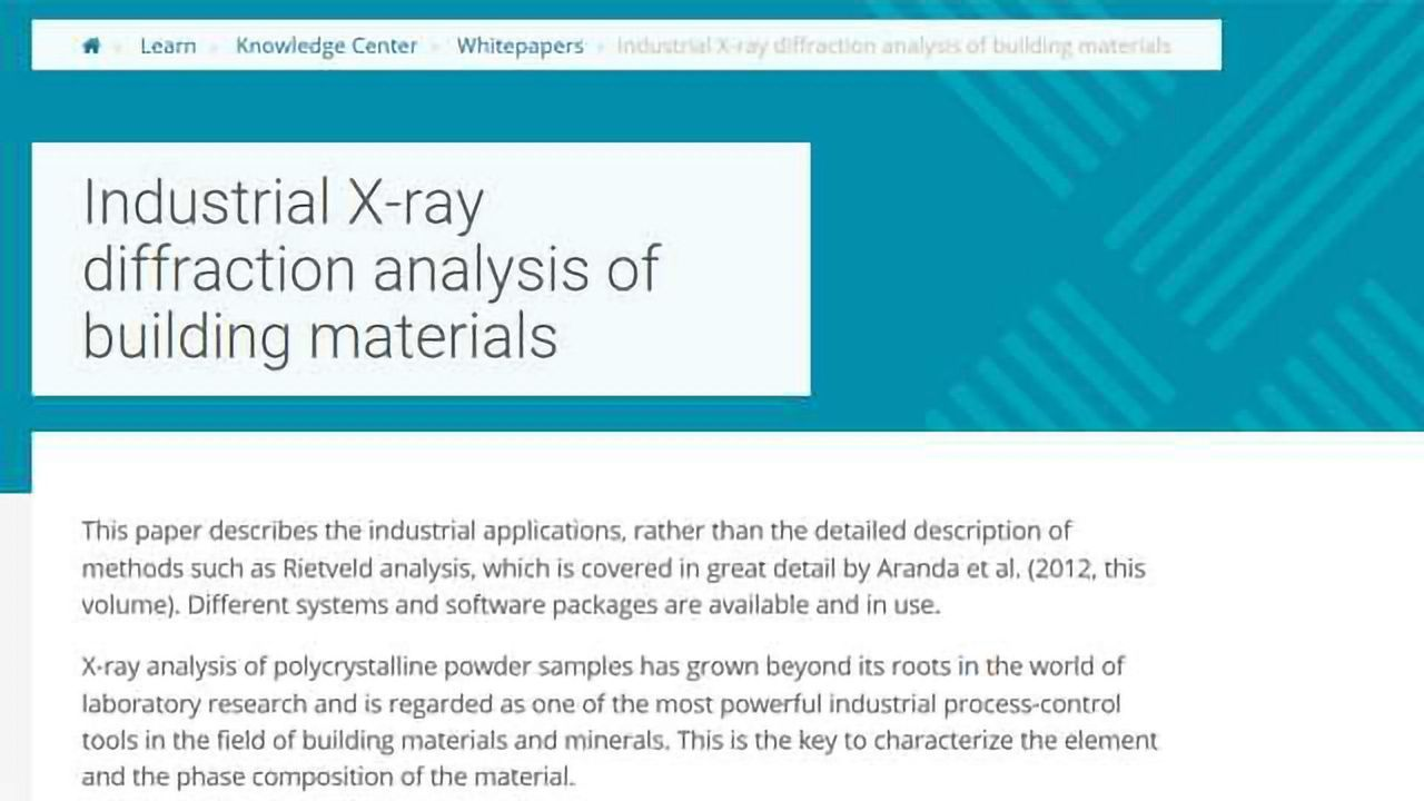 Industrial X-ray Diffraction Analysis of Building Materials