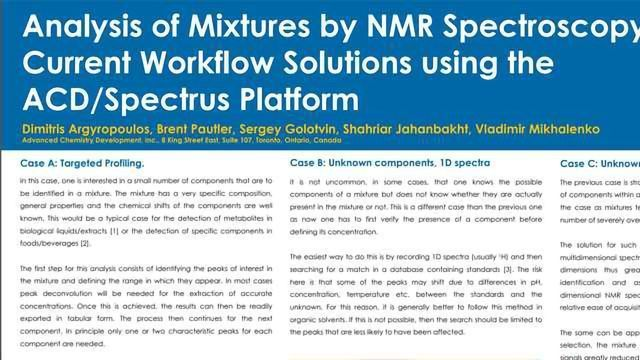 Analysis of Mixtures by NMR Spectroscopy: Current Workflow Solutions using the ACD/Spectrus Platform