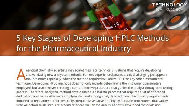 5 Key Stages of Developing HPLC Methods for the Pharmaceutical Industry
