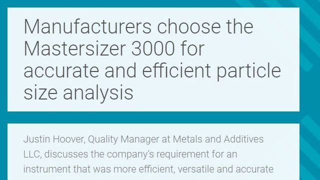 Accurate and Efficient Particle Size Analysis using the Mastersizer 3000