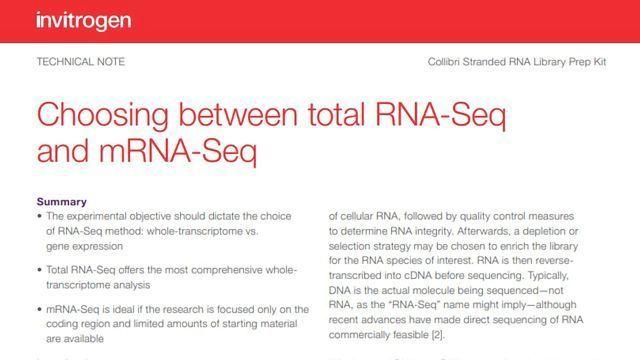 Choosing Between Total RNA-Seq and mRNA Seq