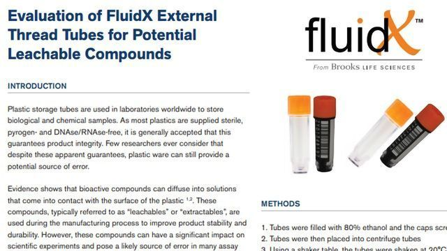Evaluation of FluidX External Thread Tubes for Potential Leachable Compounds