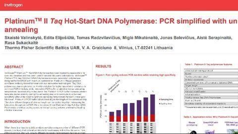 Platinum™ II Taq Hot-Start DNA Polymerase: PCR simplified with universal annealing