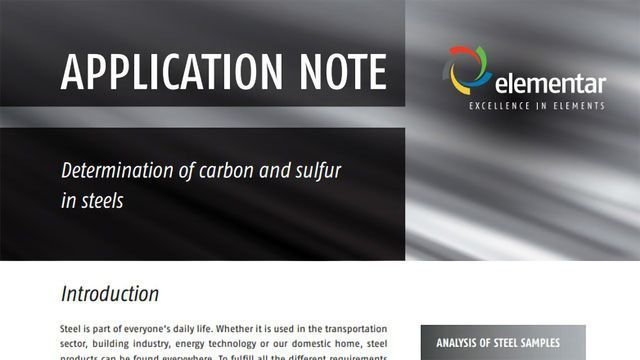 Determination of Carbon and Sulfur in Steels