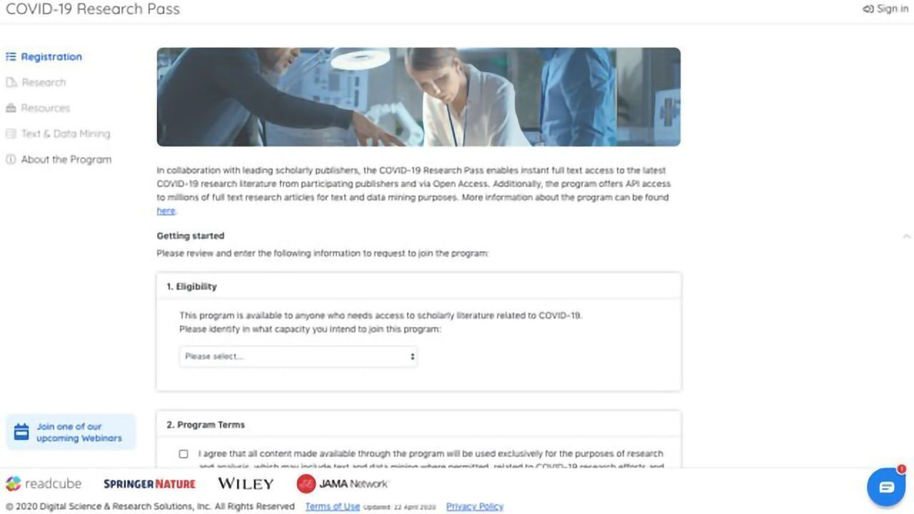 Free Research Pass Program Enables Full-text Access for COVID-19 Researchers