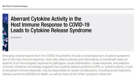 Aberrant Cytokine Activity in the Host Immune Response to COVID-19 Leads to Cytokine Release Syndrome