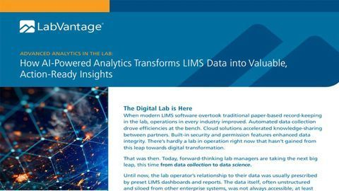 AI-Powered Analytics Transforms LIMS Data Into Valuable, Action-Ready Insights