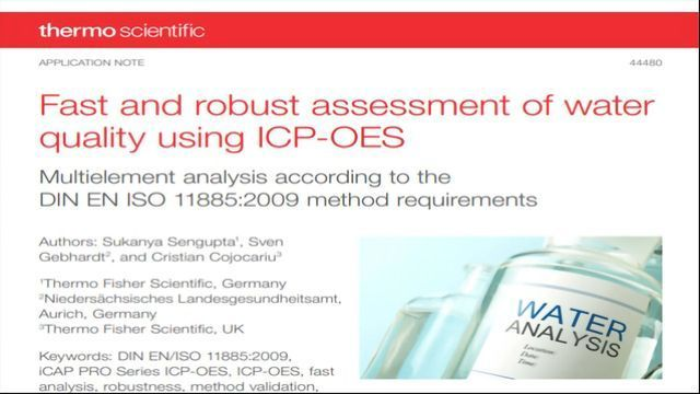 Fast and Robust Assessment of Water Quality Using ICP-OES