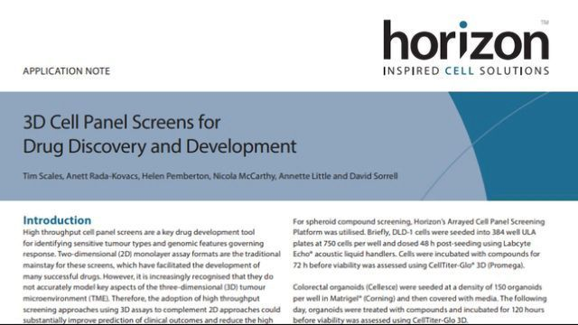 3D Cell Panel Screens for Drug Discovery and Development
