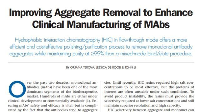 Improving Aggregate Removal To Enhance Clinical Manufacturing of mAbs