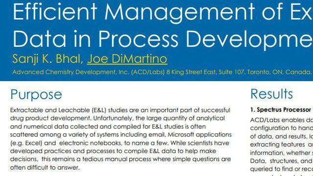 Efficient Management of Extractable and Leachable Data in Process Development