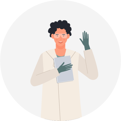 A scientist with their right hand up volunteering.